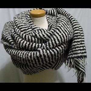 Rag & Bone Ava Scarf Black and White Striped Scarf